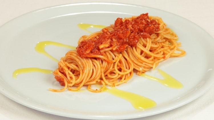 Spaghetti con granchio