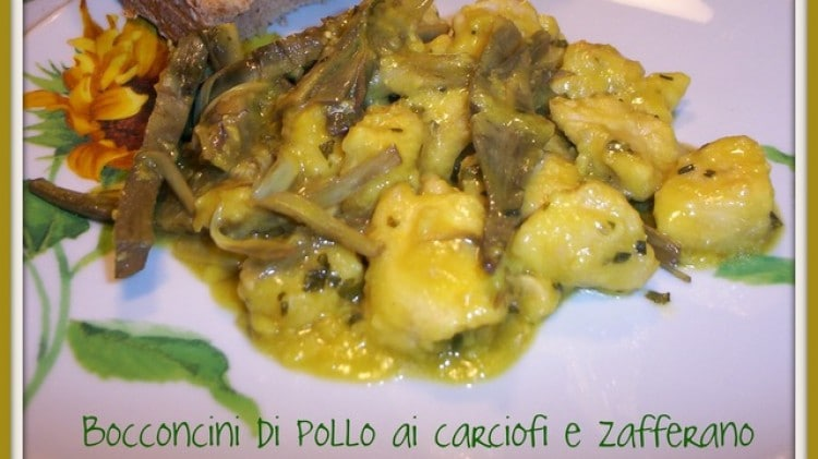 Bocconcini di pollo ai carciofi e zafferano light
