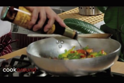 Gamberi con peperoni in agrodolce