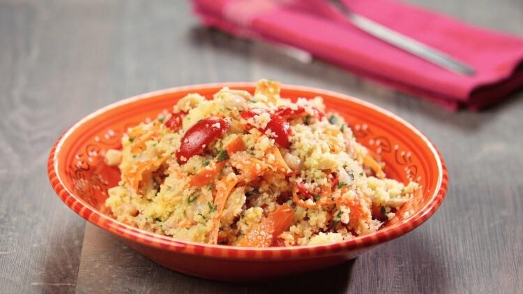Couscous con tonno fagioli e verdure fresche