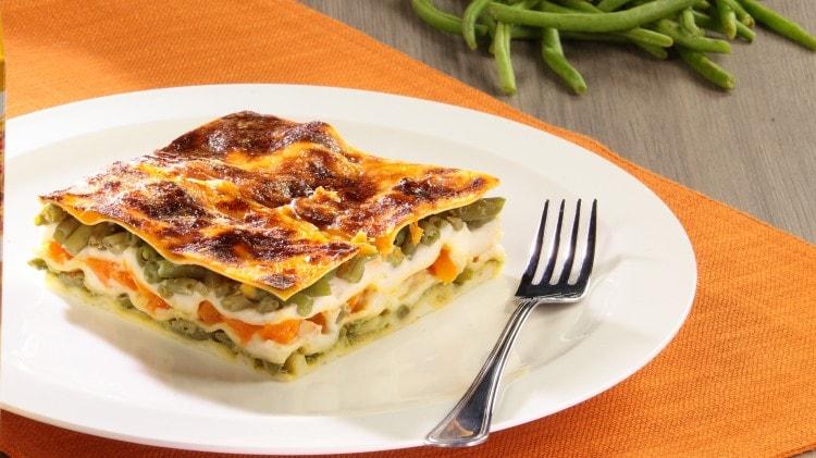 Lasagne vegetariane con zucca e fagiolini