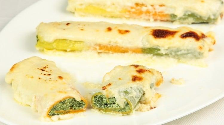 Cannelloni tricolore magro ricotta e spinaci
