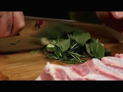 Pancetta porchettata con due cotture
