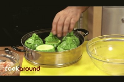 Zucchine ripiene di cous cous di pesce