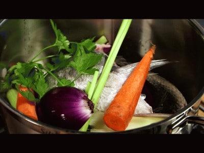 Ombrina al vapore con verdurine
