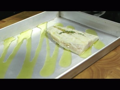 Filetti di ombrina in crosta di zucchine