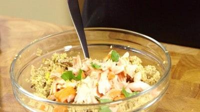Cous cous con salmone affumicato e melanzane
