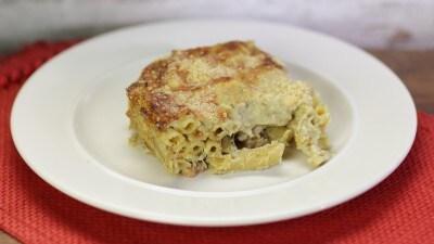 Penne pasticciate pancetta e carciofi