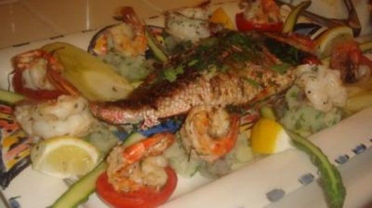 BBQ di pesce e gamberi