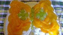 Farfalla con crema e frutta