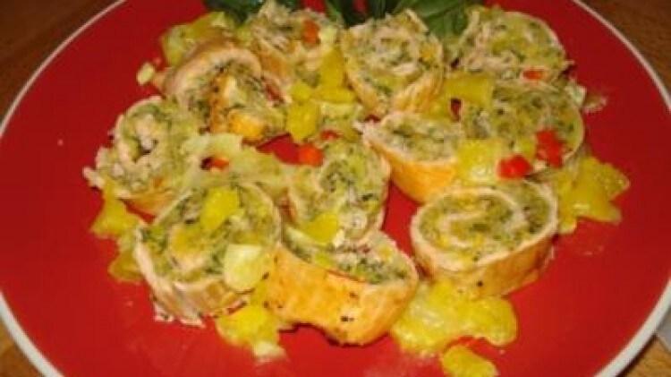 Trota salmonata con olive verdi ed agrumi