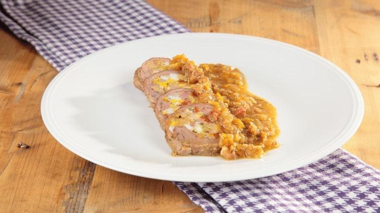 Arrosto ripieno di salame e prosciutto