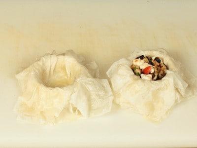 Parmigiana in cestini di fillo