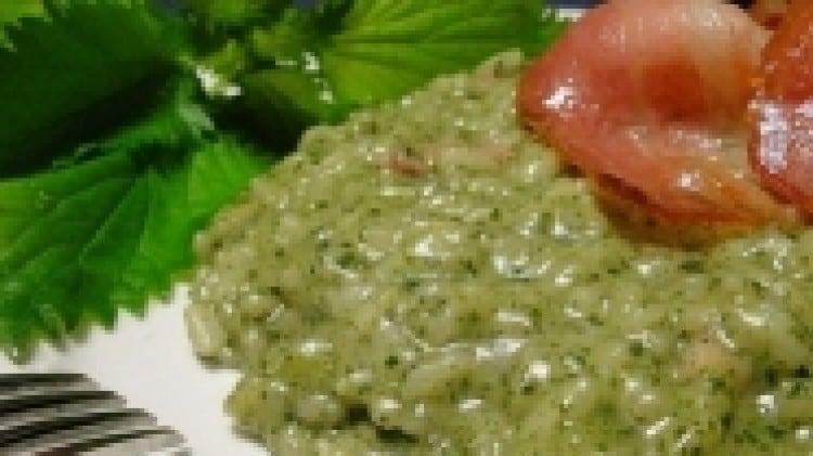 Risotto alle ortiche e fontina, croccante