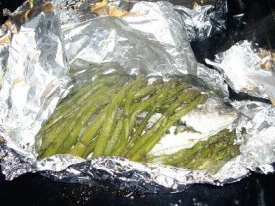 Orata in cartoccio con asparago di Sàntena