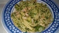 Spaghetti gamberi, rucola e patate