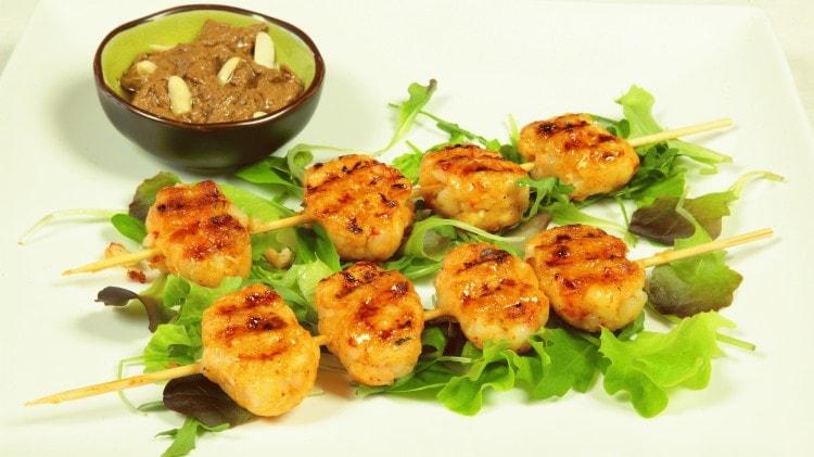 Pakong chomcak - Polpettine di gamberi grigliati