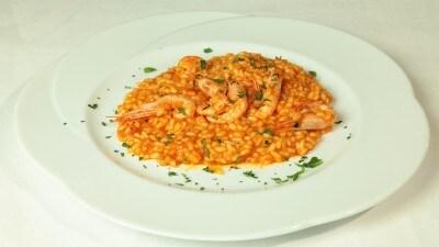 Gamberi con risotto