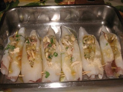 Calamari con melanzane
