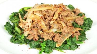 Spinaci con carne di manzo