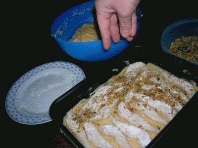 Torta alle noci con pere e nutella