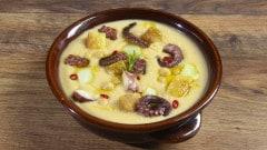 Zuppetta piccante di ceci, patate e polpo