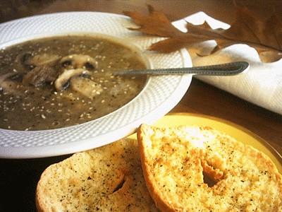 Zuppa di funghi e ceci