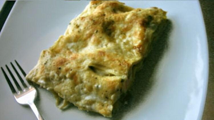 Lasagne di primavera (fagiolini e prosciutto cotto)