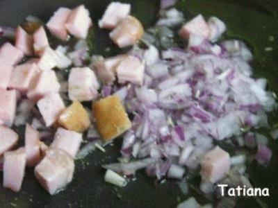 Zuppetta odorosa di ceci con porcini e pancetta stufata