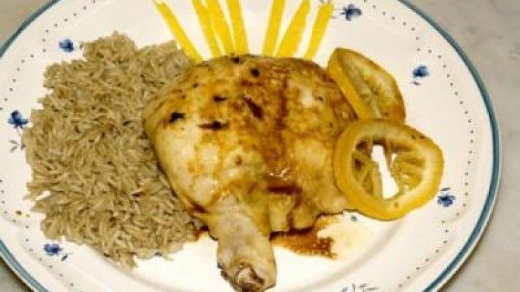 Pollo al limone con basmati pilaf