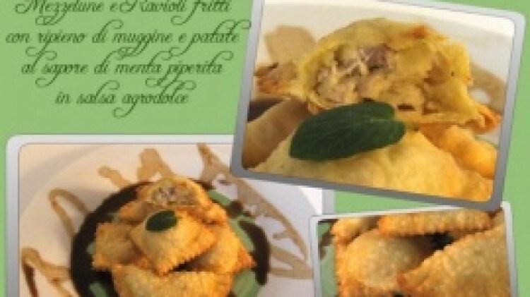Raviolini fritti di muggine con patate in agrodolce