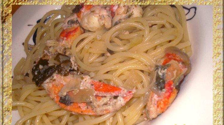 Spaghetti con astice blu alla Vernaccia