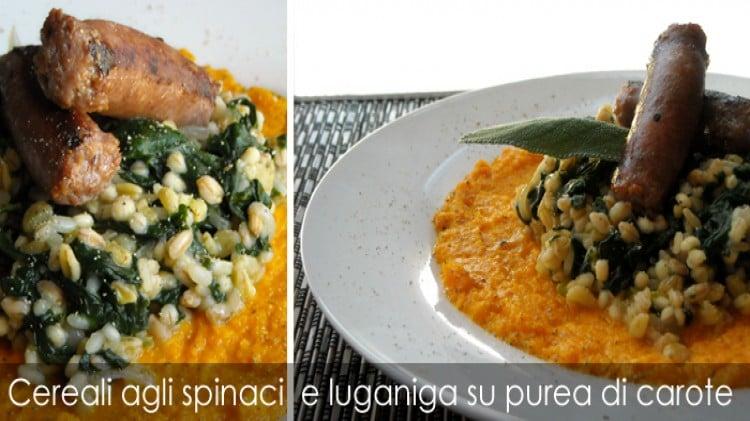 Cereali agli spinaci e luganiga su purea di carote