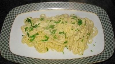 Spaghetti alla chitarra con crema di scampi