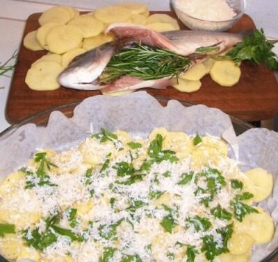 Orata con patate e parmigiano