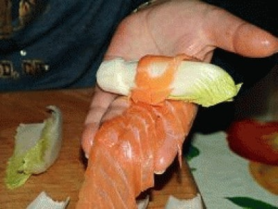 Rosa di indivia e salmone