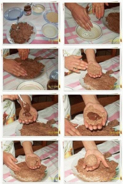Arancine di riso dolci con cuore di nutella