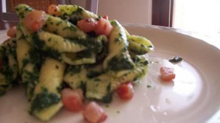 Garganelli al finto pesto di spinaci
