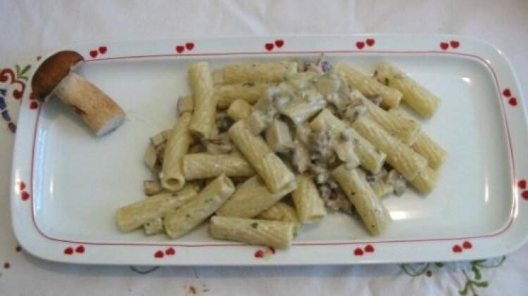 Rigatoni salsiccia panna e porcini