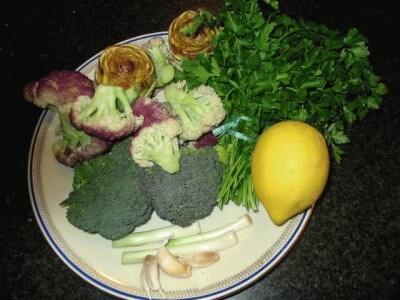 Tris di alici e flan di broccoli e cavolfiore