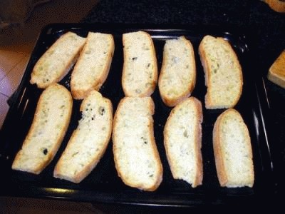 Crostone tiepido di gamberetti