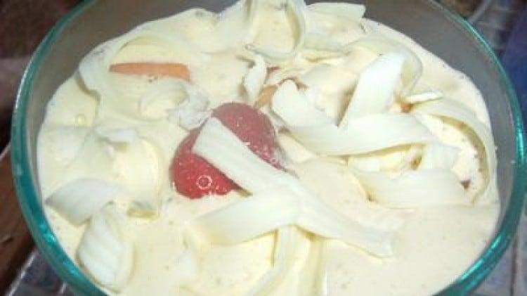 Zabaione gelato con le pesche