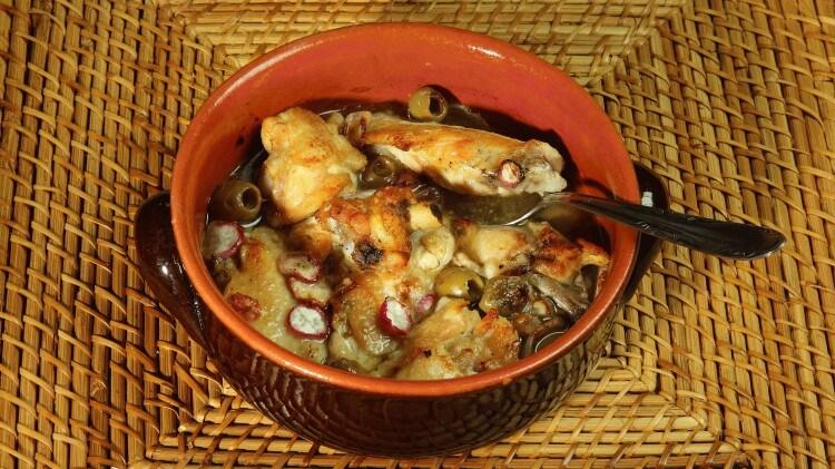 Pollo alle olive e ravanello