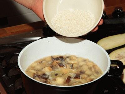 Minestra di melanzane e riso