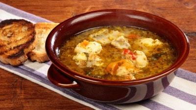 Zuppa di rana pescatrice