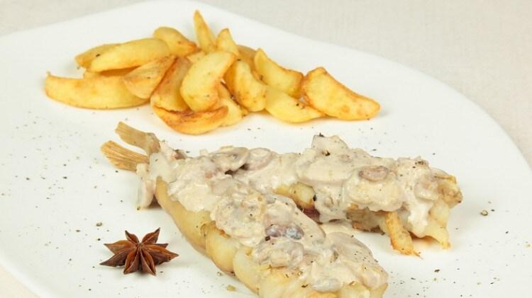 Rana pescatrice con patate e funghi
