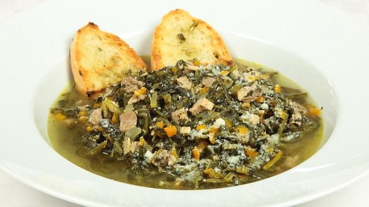 Zuppa di prosciutto e verdure