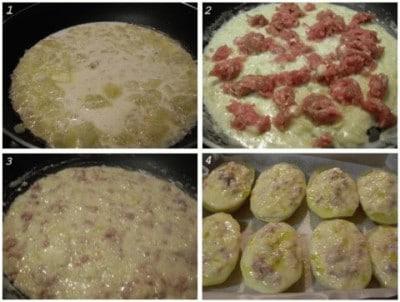 Patate ripiene di salsiccia