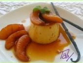 Crème caramel con pesche caramellate