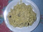 Pasta con i funghi e crema di gorgonzola.